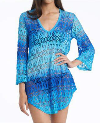 Jordan Taylor Aquamarine Bell Sleeve Tunic Cover up Women Swimsuit