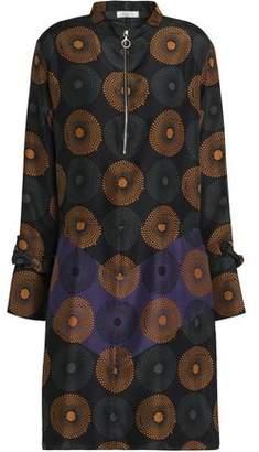 Nina Ricci Printed Ruffle-Trimmed Silk Dress