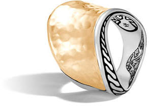 John Hardy 18k Classic Chain Wave Hammered Ring, Two-Tone