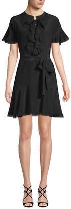 Gold Hawk Silk Lace-Up Mini Dress