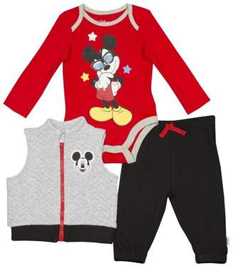 Disney Mickey Mouse Newborn Baby Boy Quilted Vest 3pc Jogger Set