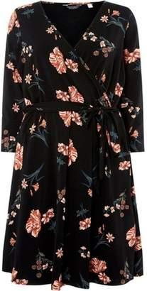 Dorothy Perkins Womens **DP Curve Black Floral Print 3/4 Sleeve Wrap Dress