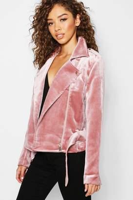 boohoo Velvet Biker Jacket