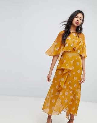 Stevie May Golden Frill Midi Dress