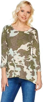 Logo By Lori Goldstein LOGO by Lori Goldstein Printed Cotton Linen Sweater with Hi-Low Hem
