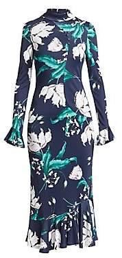 Erdem Women's Alta Floral Bell Sleeve Midi Dress