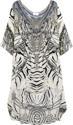 Camilla - Chinese Whispers Embellished Printed Silk Crepe De Chine Dress - White $550 thestylecure.com