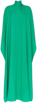 Valentino Long High Neck Silk Cape Dress