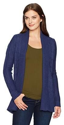 Jason Maxwell Women's Long Sleeve Solid Turnback Collar Cardigan,L