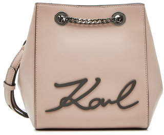 Karl Lagerfeld K/Signature Leather Bucket Bag