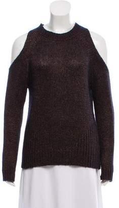 Intermix Cold-Shoulder Knit Sweater