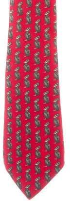Hermes Silk Pelican Print Tie