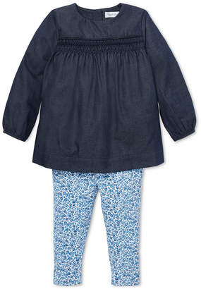 Polo Ralph Lauren Ralph Lauren Baby Girls Smocked Top & Floral Leggings Set