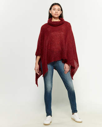 Research Code By Never Enough Ruby Red Wool-Blend Poncho