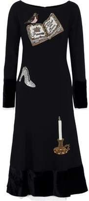 Dolce & Gabbana Velvet-Paneled Appliquéd Wool-Blend Midi Dress