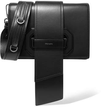 Prada Ribbon Plexi Leather Shoulder Bag - Black