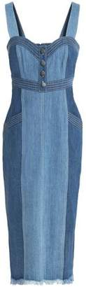 Nicholas Frayed Two-Tone Denim Dress