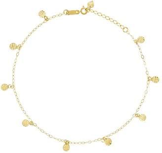 """10"""" Diamond-Cut Circle Station Ankle Bracelet,14K Gold"""