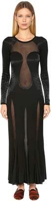 Roberto Cavalli Beaded Knit Long Dress W/ Sheer Panels