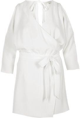 River IslandRiver Island Womens White cold shoulder wrap skort playsuit