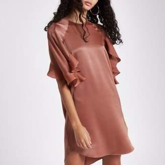 River Island Dark pink frill sleeve swing dress