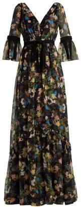 Erdem Petunia Mariko Meadow Print Silk Gown - Womens - Black Print