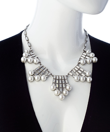 Ben-Amun Ben Amun Five Station Silver Crystal Baguette And Pearl Necklace