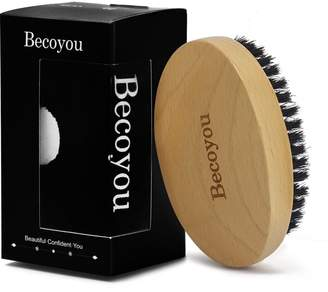 for Men, Becoyou Men's Hair Brush Natural Boar Bristle Brush with Storage Bag for Beard, Head Hair, Mustache