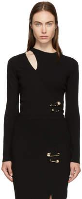 Versus Black Ribbed Slit Sweater