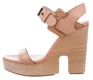 Reed Krakoff Snakeskin-Trimmed Platform Sandals