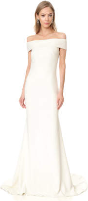 Theia Off Shoulder Crepe Gown $1,595 thestylecure.com