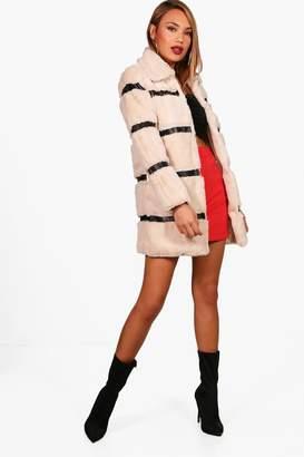 boohoo Stripe Faux Fur Coat