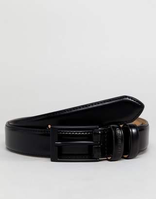 Ben Sherman Skinny Leather Belt Black