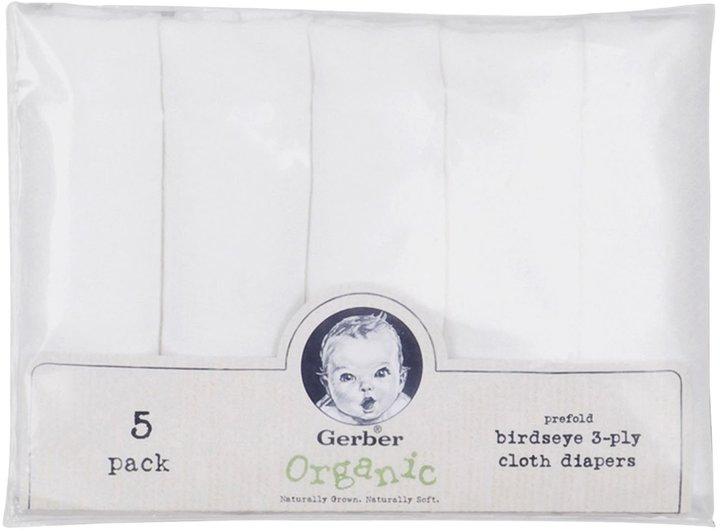 Gerber Birdseye Organic Prefold Cloth Diaper - White - 5 pk