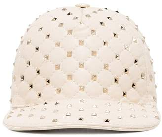 Valentino Cream Rockstud Leather Baseball Cap