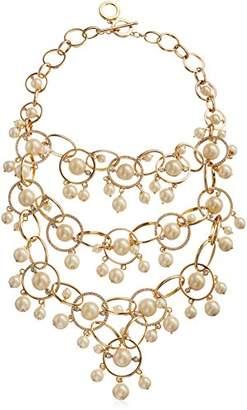 Carolee Majestic Pearl Drama Links and Pearl Bib Necklace