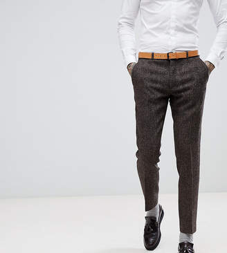 Heart & Dagger Skinny Suit Pant In Harris Tweed In Herringbone