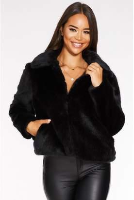 Quiz Black Short Faux Fur Collar Jacket