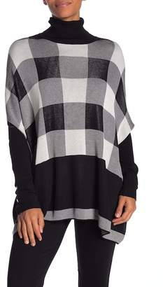 Joseph A Buffalo Plaid Turtleneck Poncho