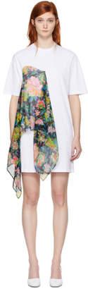 MSGM White Floral Scarf T-Shirt Dress