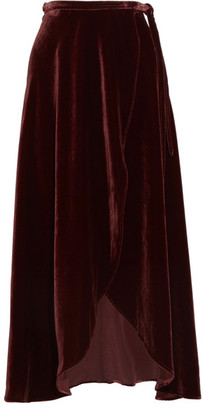 Reformation - Velvet Wrap Skirt - Burgundy $240 thestylecure.com
