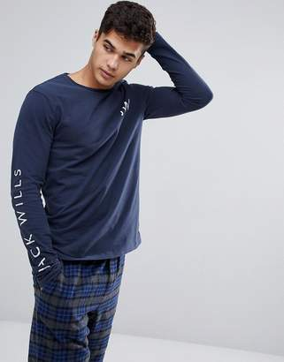Jack Wills Semley Long Sleeve Graphic T-Shirt in Navy
