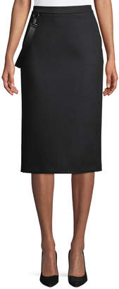 Max Mara Polder Crepe Knee-Length Skirt w/ Leather Strap Detail