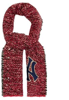 Gucci Ny Yankees Patch Tweed Scarf - Womens - Pink