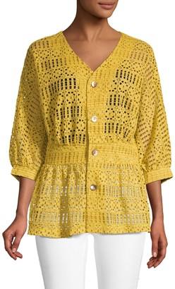 Lumie Lace Button Front Blouse