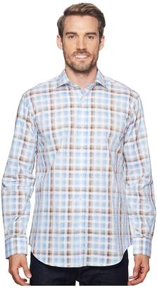 Bugatchi Shaped Fit Long Sleeve Plaid Woven Shirt Men's Long Sleeve Button Up