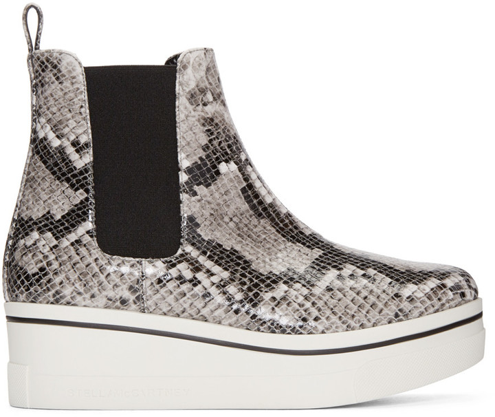 Stella McCartney Grey Snake-Embossed Binx Boots