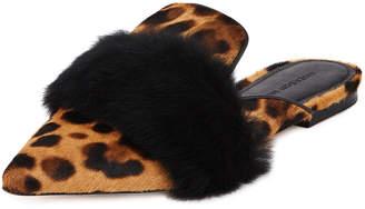 Sigerson Morrison Leopard-Print Fur Flat Slide Mule