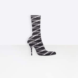 Balenciaga Round toe stretch knit booties with allover monogram print