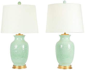 One Kings Lane Vintage Midcentury Porcelain Table Lamps - Set of 2 - La Maison Supreme